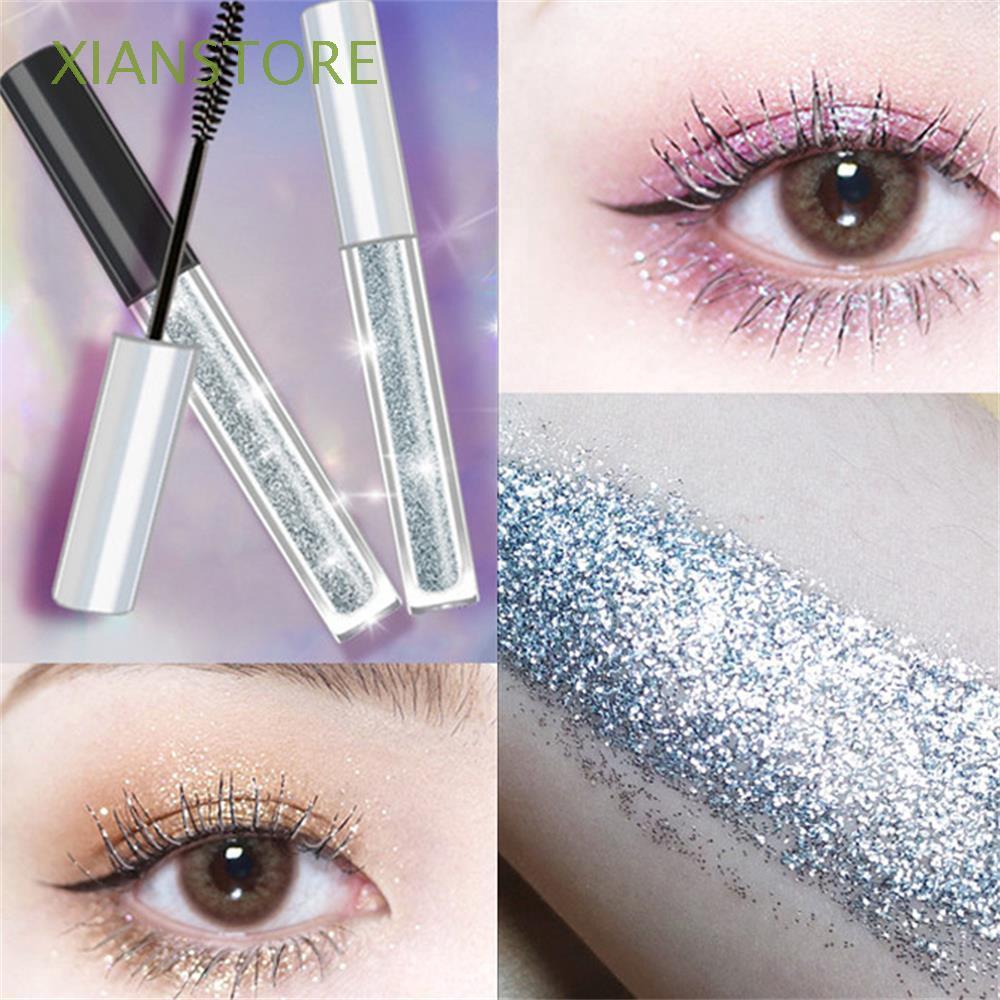 XIANSTORE Cosmetics Long Silver Lash Curling Extension Eye Makeup Diamond Shiny Mascara