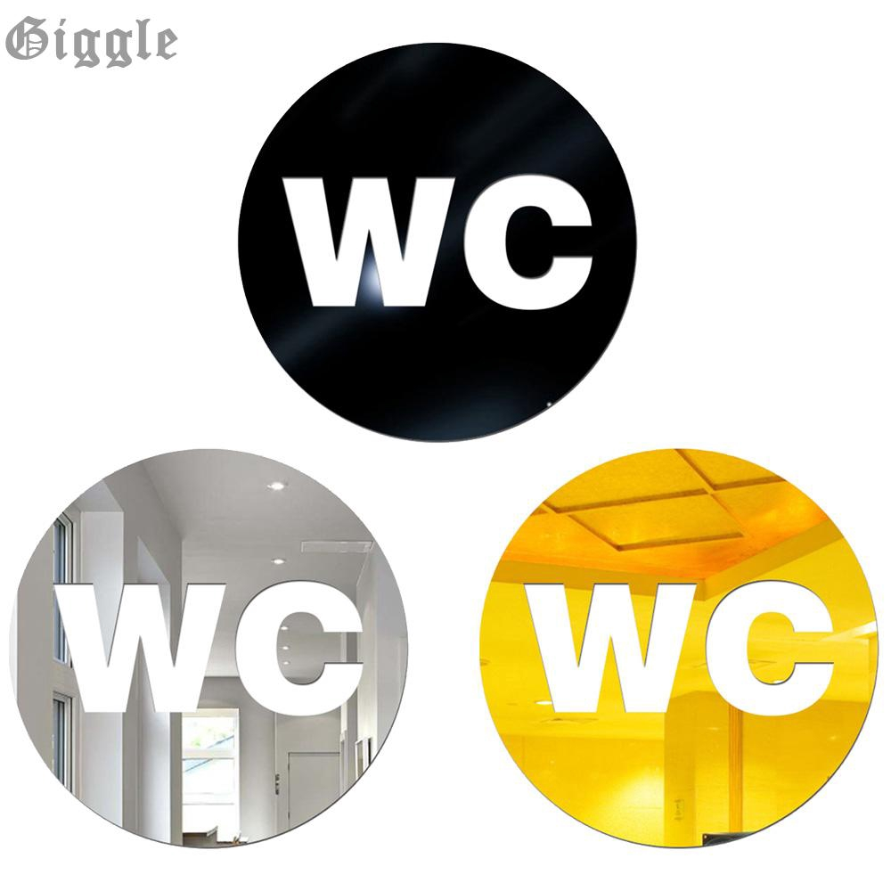 Mirror Effect 12cm WC Symbol Acrylic Wall Sticker Decal Home Decor Waterproof