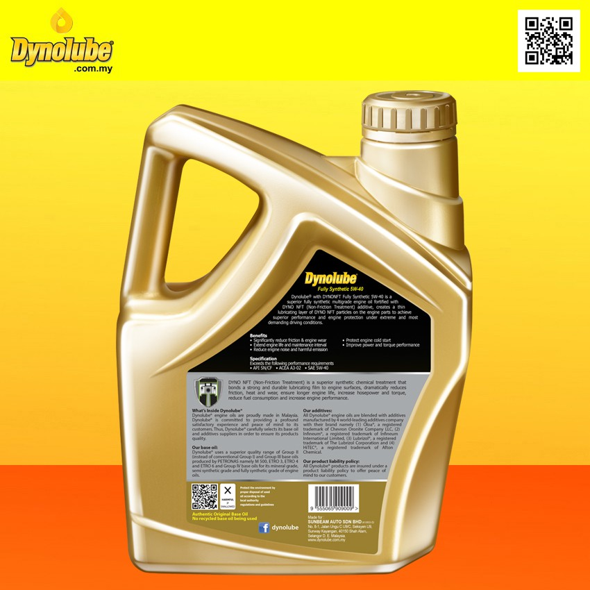 Dynolube 5W40 with DYNONFT Fully Synthetic Engine Oil SN/CF 4Liter