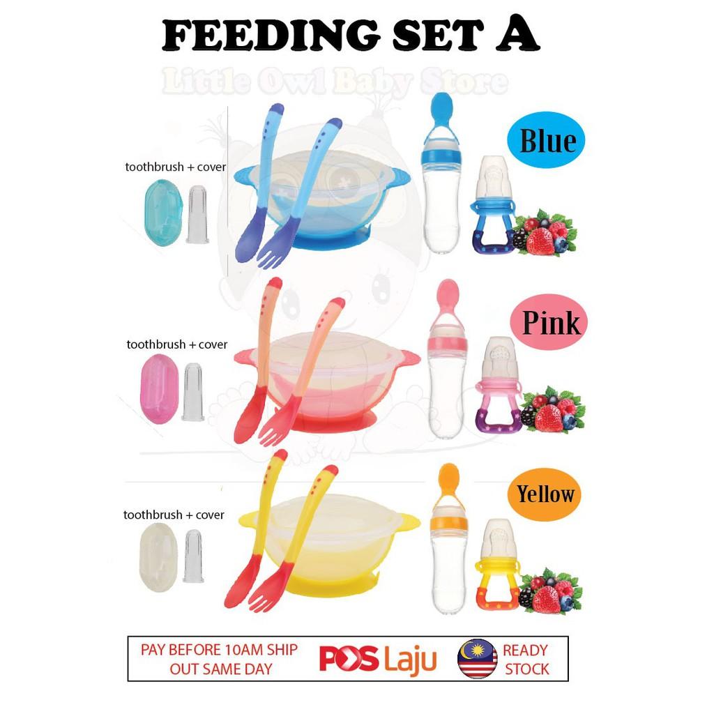 READY STOCK Baby Feeding Set [Baby Feeder + Spoon + Suction Bowl +  Toothbrush]