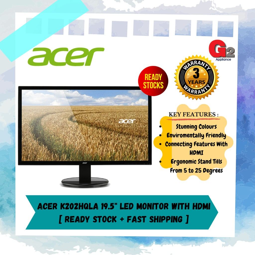 """ACER K202HQL 19.5"""" LED MONITOR WITH HDMI [ ready stock + fast shipping ]"""