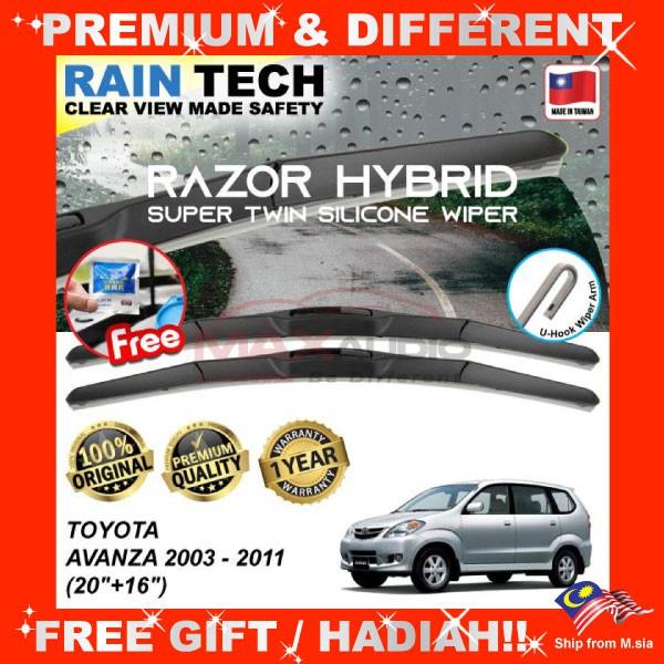 [FREE Gift] TOYOTA AVANZA 2003 - 2011 (20/16) RAIN-TECH RAZOR HYBRID Silicone Aerodynamic Clean Wipe Safety Wiper Blade