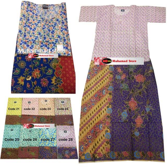 Baju Kurung Kedah + Kain Batik COMBO!! (Kain Jahit Tepi Biasa & Random design)