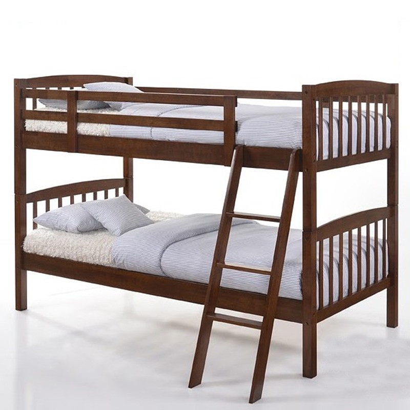 5829 Solid Wood Bunk Bed Double Decker and single bed walnut color