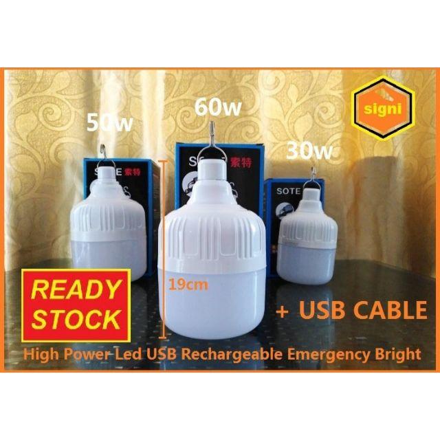 [ READY STOCK ]  New Arrival Usb Rechargable Led Bulb Lampu Raya Pelita Flash Jualan Murah Lamp Light Spotlight Battery