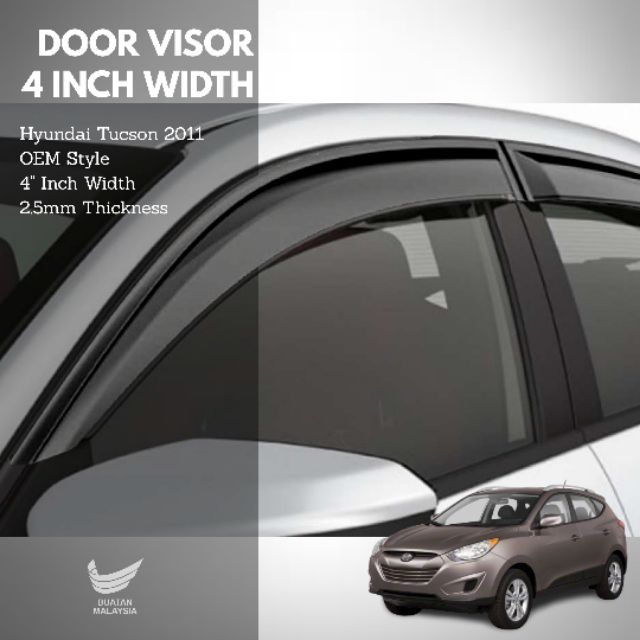 """Hyundai Tucson 2011 Door Visor 4"""" Inch Width 2.5mm Thickness Air Press Window Visor OEM Style with packing boxes"""