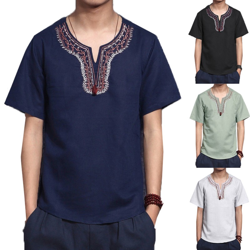 100/% Cotton Men Casual Tribal Embroidery Print V-Neck Short Sleeve Shirt S-3XL