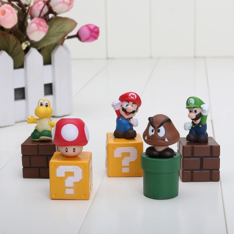 5pcs//set 5cm New Super Mario Bros figures bundle Blocks figures Mario