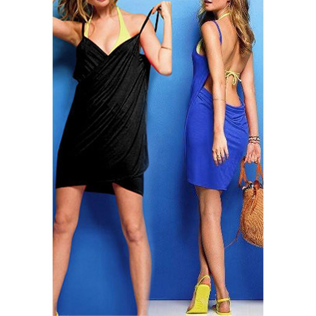 d002143db9 ProductImage. ProductImage. Women Deep V Backless Wrap Solid Swimwear Bikini  Beach Cover Up Beach Dress