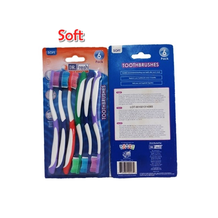 Dr. Fresh Toothbrush Velocity Soft Bristles 6pcs
