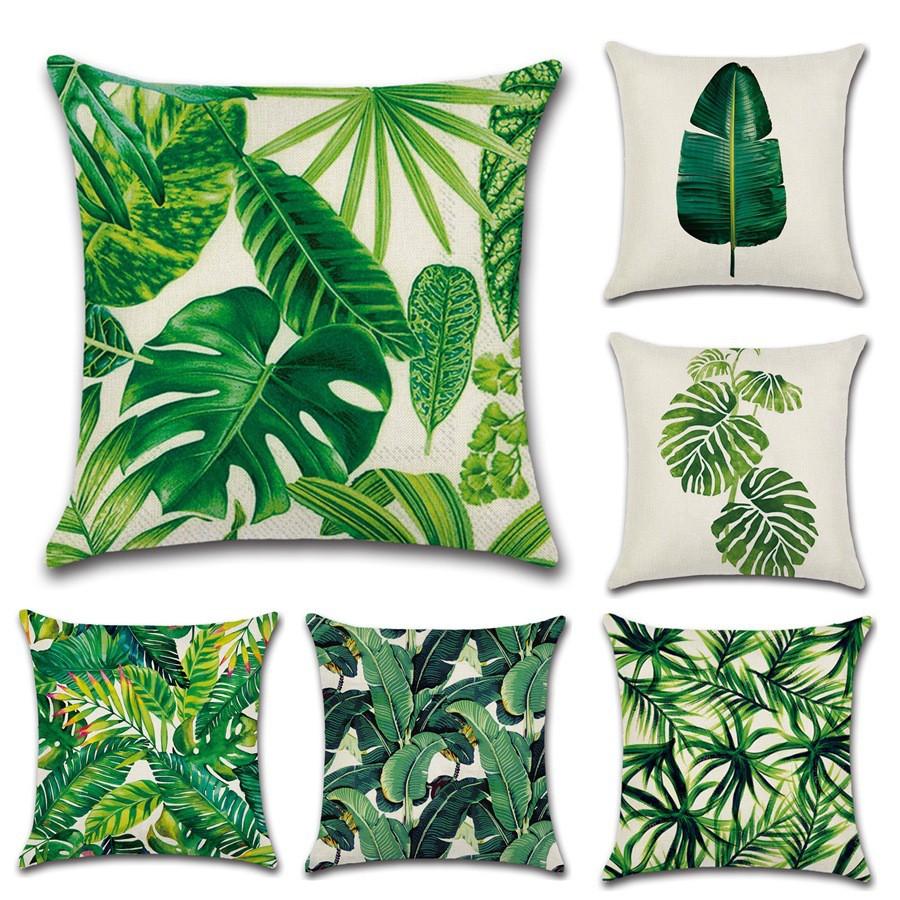 "Tropical Banana Green Leaves Linen Cushion Cover Sofa Pillow Case 18/""//45cm"