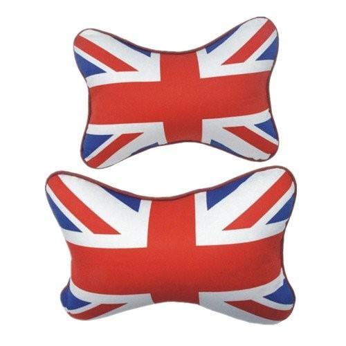 British UK Flag Series Car Styling PU Leather Headrest/Neck Pillow (Sets)- Blue