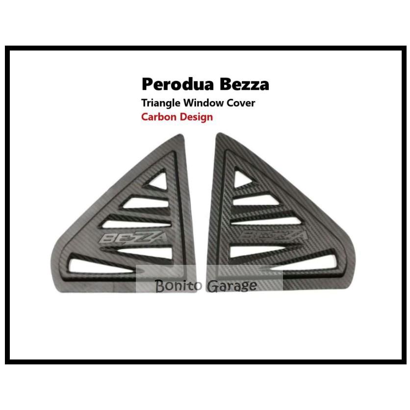 Perodua Bezza Rear Side 3D Carbon Window Triangle Mirror Cover Protector