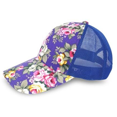 c281df235 CAUSAL WOMEN FLORAL PRINT MESH SUN VISOR SPORTS CAP (PURPLE)