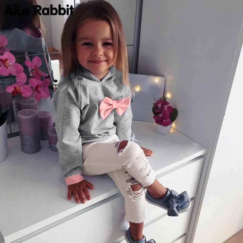 1ad393d4ec33b FREE SHIP ! Baby Girls Clothes Set 2PCs Long Sleeve Hoodie Tie Bow  Tops+Pants Kids Winter Clothes