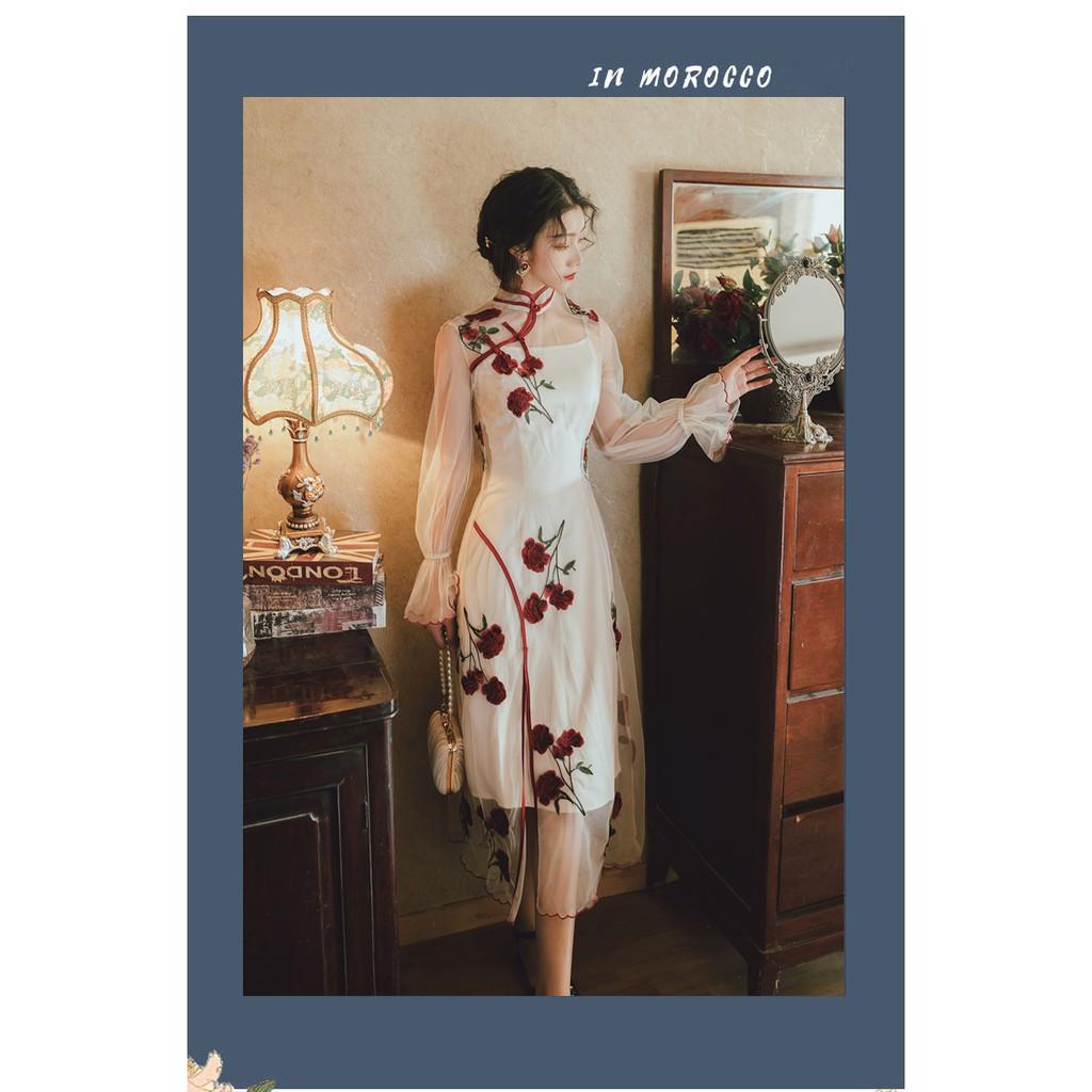 [NEW] Chinese Vintage Rose Embroidery Midi Dress /Cheongsam 中式复古 奶油杏玫瑰刺绣旗袍两件套连衣裙