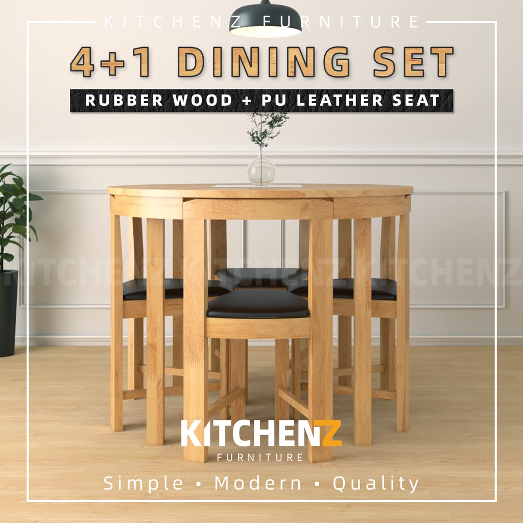 KitchenZ Modern Rubber Wood Dining Set / Dining Table / Dining Chair / Rubber Wood / PU Leather Seat Dining Chair - HMZ-FN-DT-COCO-48MM