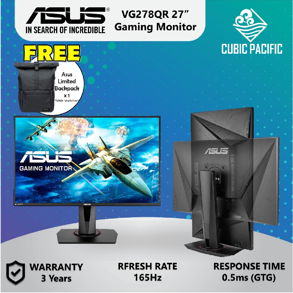 """ASUS VG278QR 27"""" 165Hz Full HD G-SYNC Compatible Gaming Monitor (Free ASUS Limited Backpack)"""