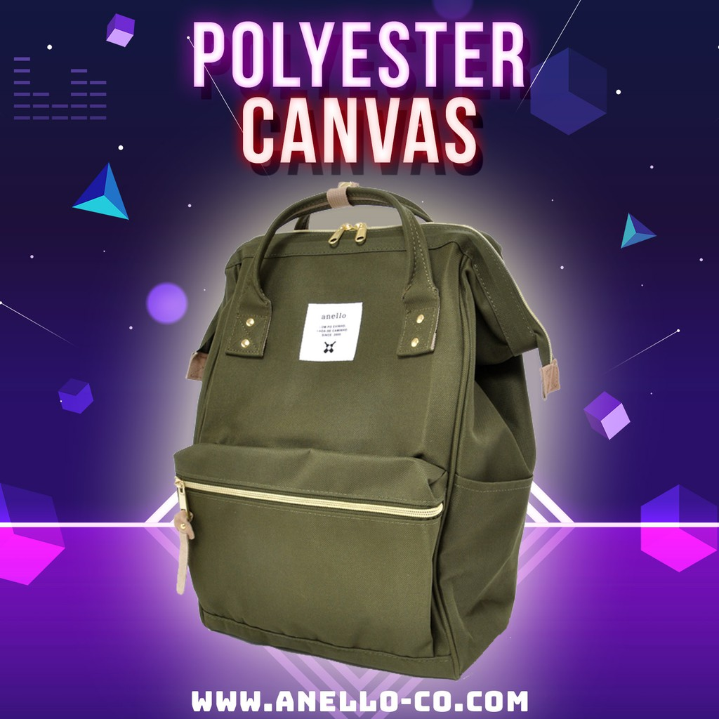 ed96edb691 100% Authentic Anello Polyester Canvas Backpack Rucksack (Beige ...