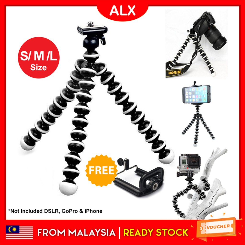 ALX Octopus Tripod Camera Stand Android with Clip for Any Phone - S/M/L