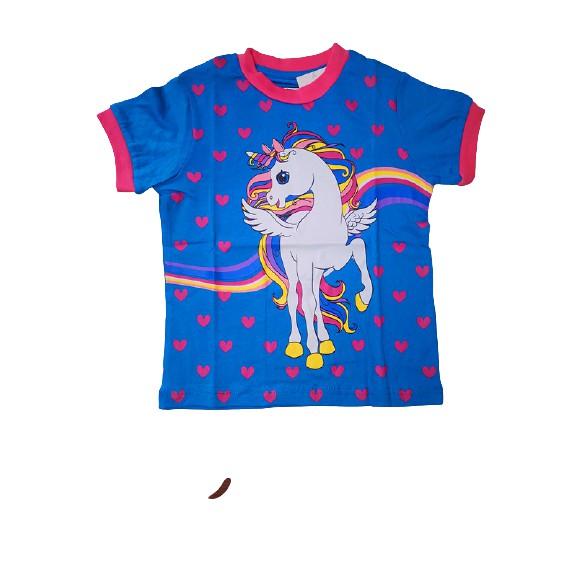 POLOUS Girl Cotton Short Sleeve Round Neck Shirt 9015- UNICORN RAINBOW