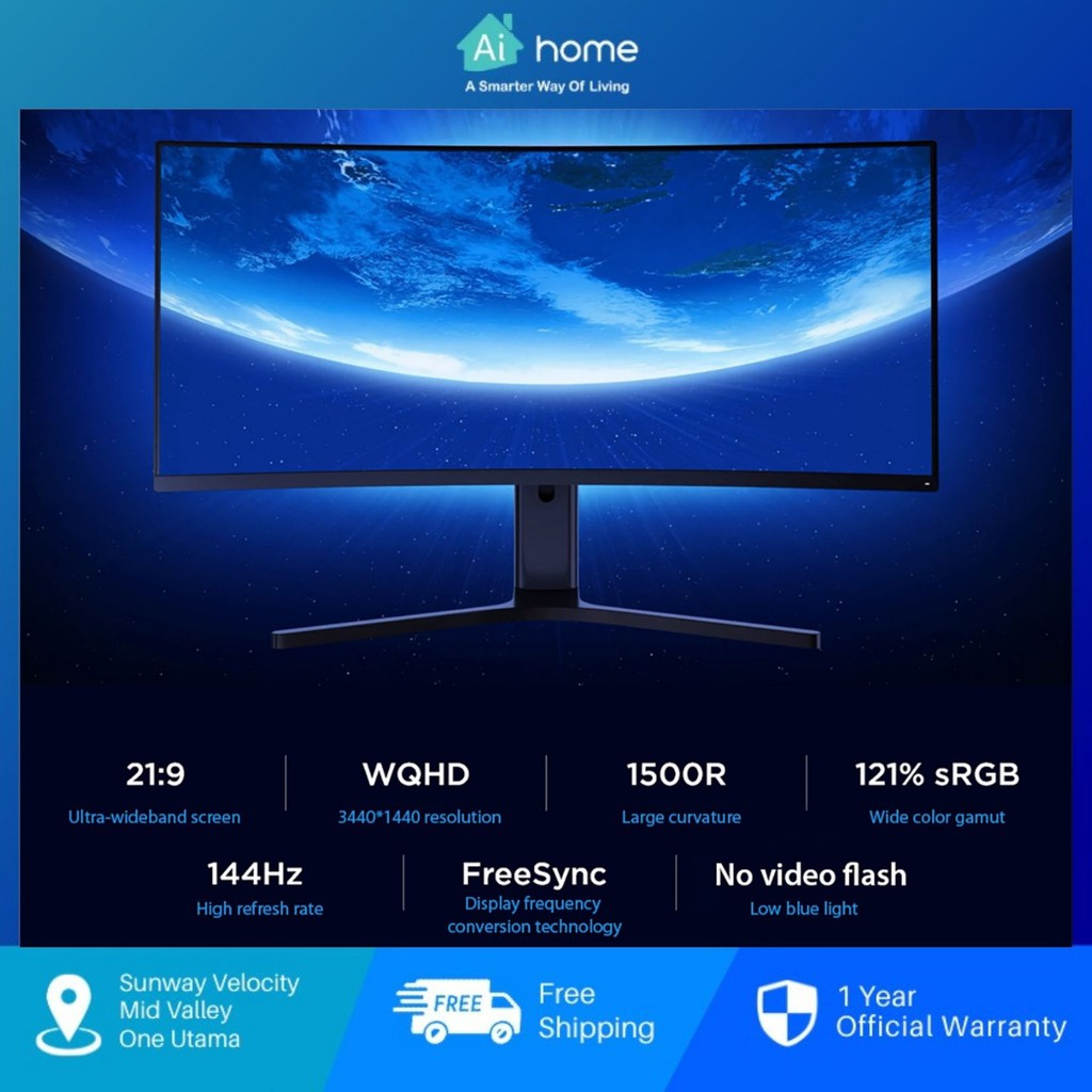 """Xiaomi 34"""" Curved Gaming Monitor - WQHD 