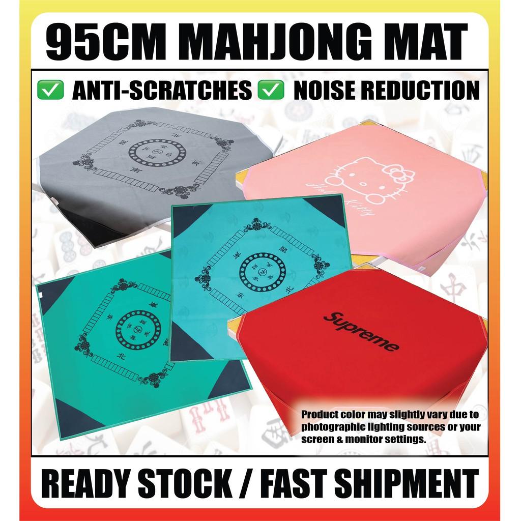 [Ready Stock] Mahjong Cloth Mahjong Mat noise reduction with pocket Anti-Scratches Mat 95cm 麻将桌布垫子正方形加厚消音防滑麻将布麻将毯95厘米带兜