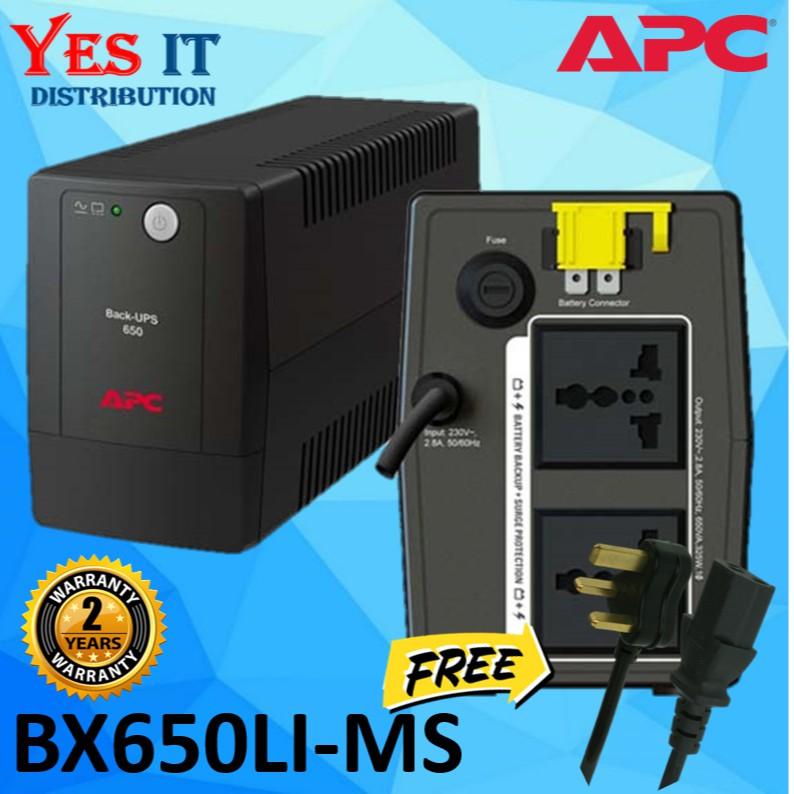 APC BX650LI-MS 650VA Back-UPS 230V AVR / Surge Protector--FREE 3 PIN POWER  CABLE