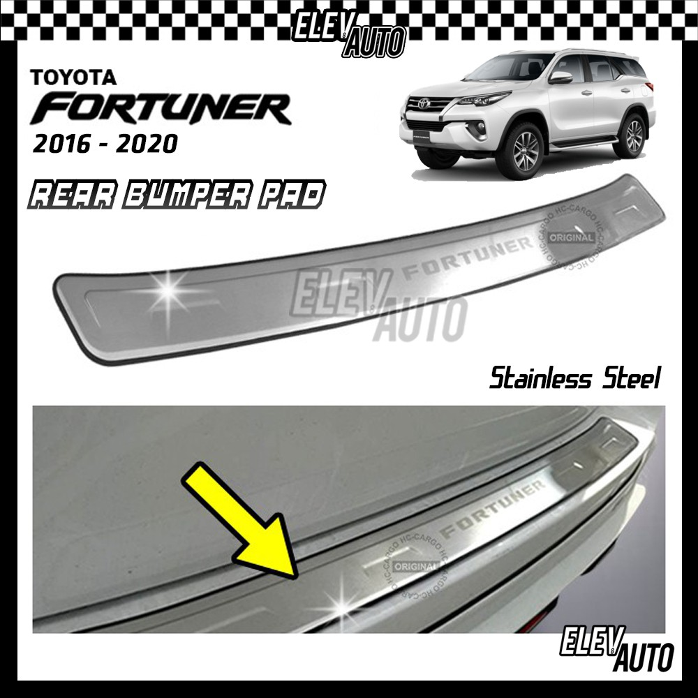 Toyota Fortuner 2016-2021 STAINLESS STEEL Rear Bumper Pad Bumper Guard