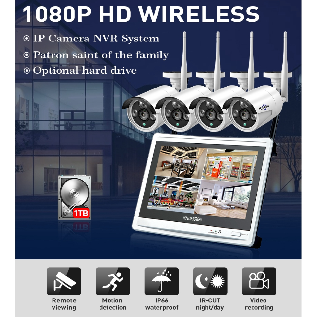 Hiseeu 4CH 1080P Wireless NVR Kits 12' LCD display HD outdoor security 2MP  IP Camera video surveillance wifi cctv system