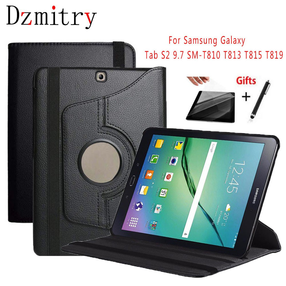 360 Degree Rotating Flip PU Leather Cover For Samsung Galaxy Tab S2 9 7  SM-T810 T813 T815 T819 Tablet Case+film+Pen