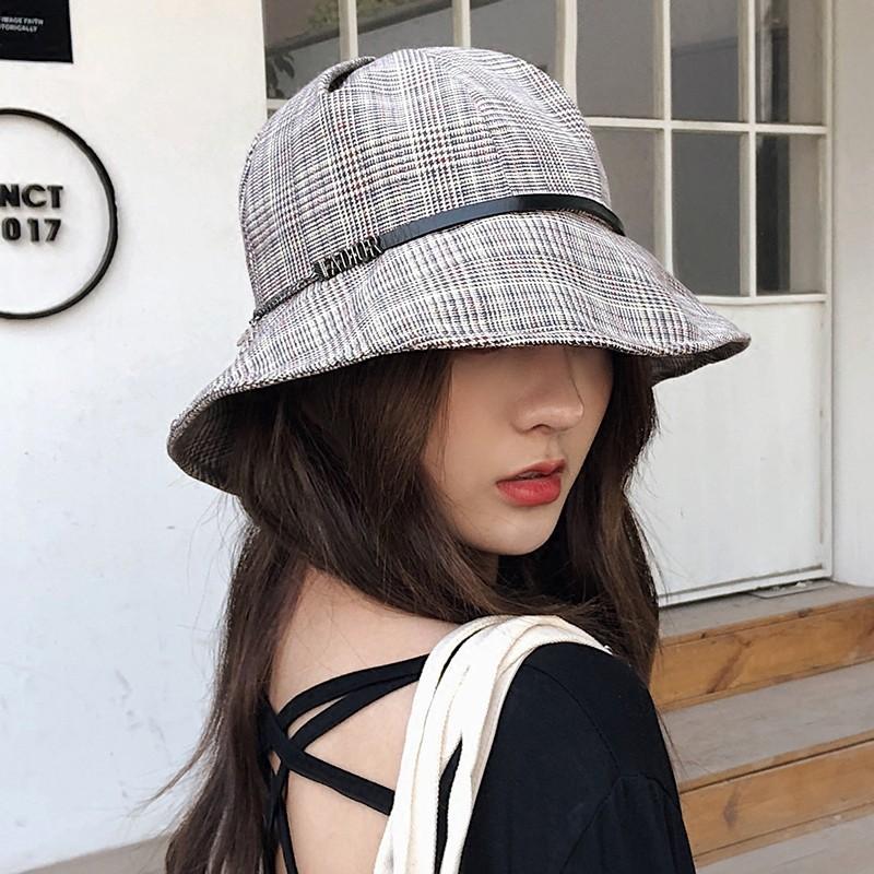 b54307380 plaid women bucket hat sun visor cap summer brand fishing hat outdoor  casual cap