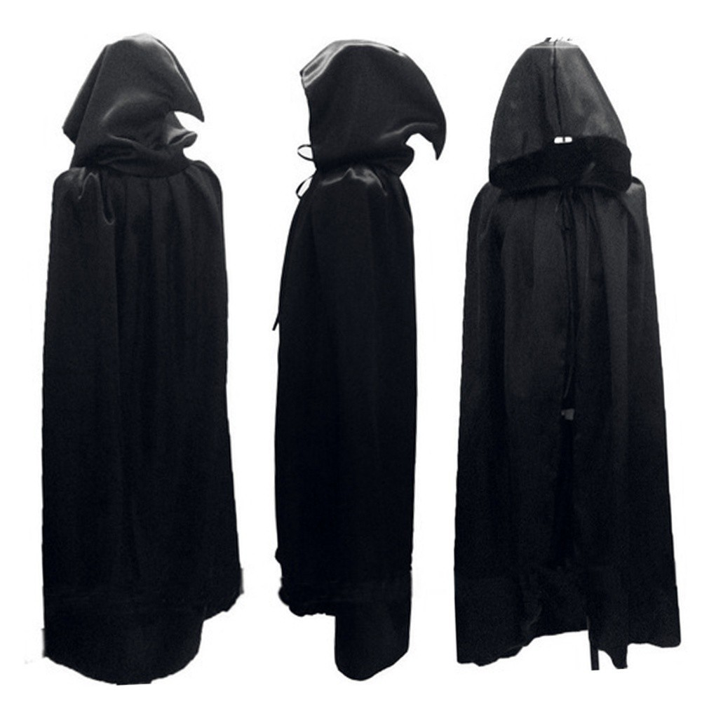 Adult Mens Black Hooded Cape Costume One Size Vampire Witch Halloween Dress Up