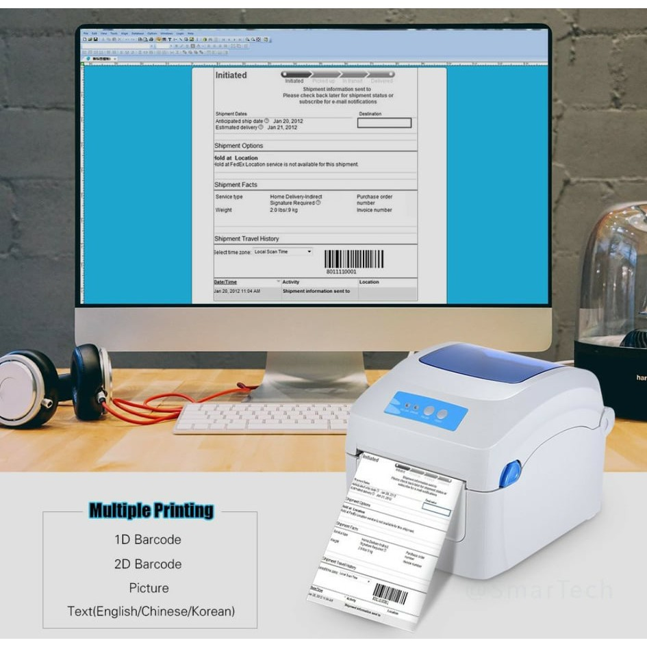 🔥 JPW590 Thermal Printer Inkless 1D 2D QR Airwaybill Barcode Label Printing for Shopee Shipping Logistics Parcel