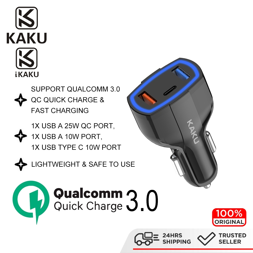 IKAKU KAKU RUILANG 20W Car Charger Dual USB A & Type C Cable Port QC Qualcomm 3.0 Quick Charge iPhone Android Smartphone