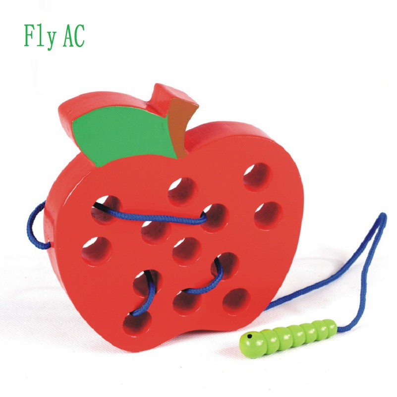 Fun Children Wooden Toy Worm Eat Fruit Apple Early Learning Teaching Aid Toys