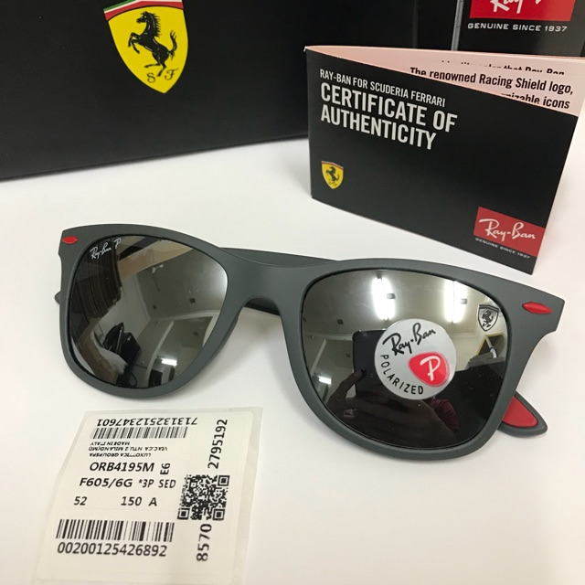 79faa193de Original Ray Ban Wayfarer Liteforce Ferrari Scuderia RB4195 F605 6G 52MM