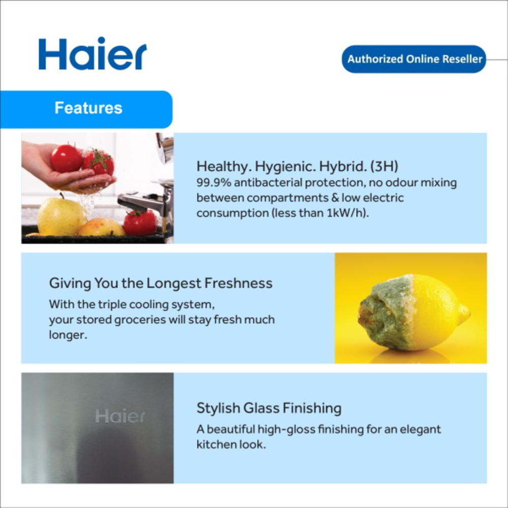 Haier 550L HRF-619SI(G) Side By Side Glass Series DC Inverter Refrigerator