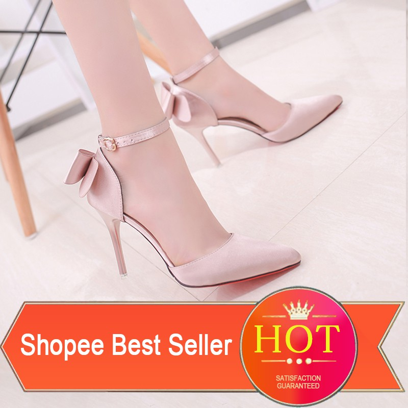 EU34-39 Korean 9.5cm Stiletto High Heels Pointed Sandals with Bow Buckle for Wedding