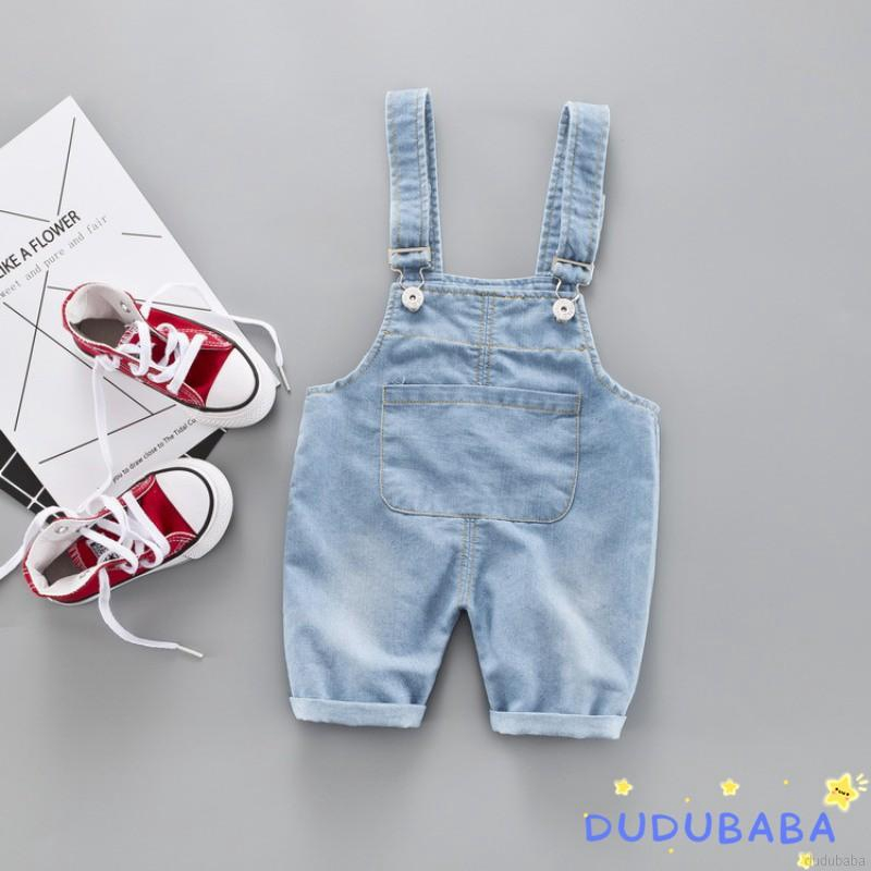 【dudubaba】Toddlers Boys Girls Cotton Elastic Denim Suspender Pants 0~3 Years Old