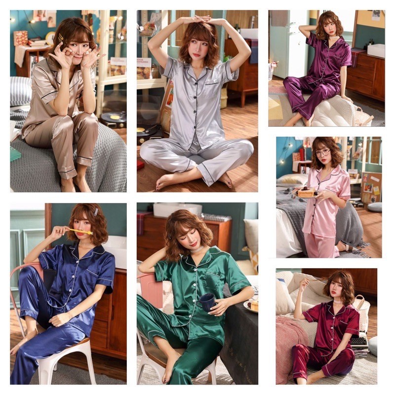 [READY STOCK] WOMEN PLAIN SATIN SHORT SLEEVE & LONG TROUSER SLEEPWEAR PYJAMAS (L-2XL)