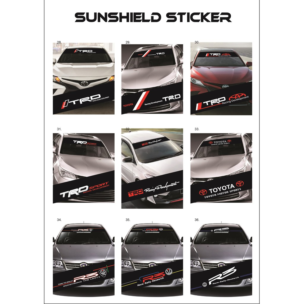 Universal Car Windscreen Sticker Front/Rear (132cm (L) x 25.5cm (W)(YS28-36)