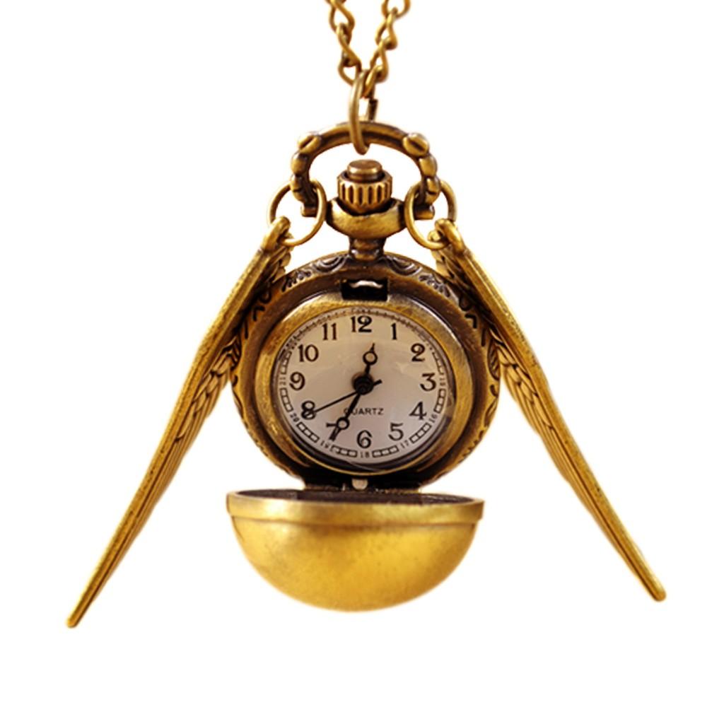 Watches Hot Vintage Bronze Tone Robot Compass Pocket Chain Quartz Pendant Watch Necklace