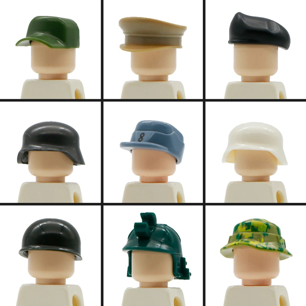 Military Building Blocks German Soldiers Figure Accessory Army Beret Knight  Helmet Cap Hat Legoed Military Toys