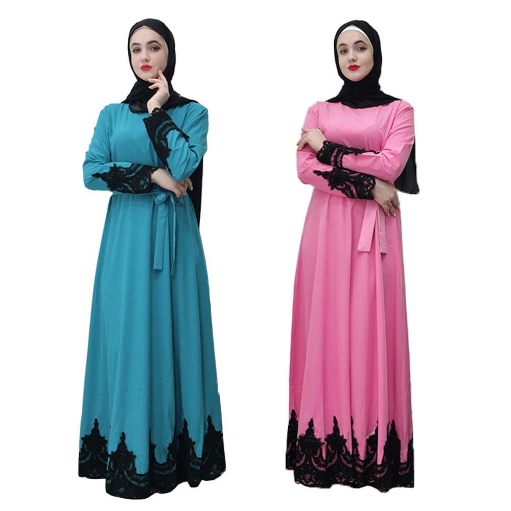 ad1167e235 ROCKYSTUDIO Abaya Women Bandage Muslim Dress Kaftan Islamic Clothing Pink  Blue Caftan Robe