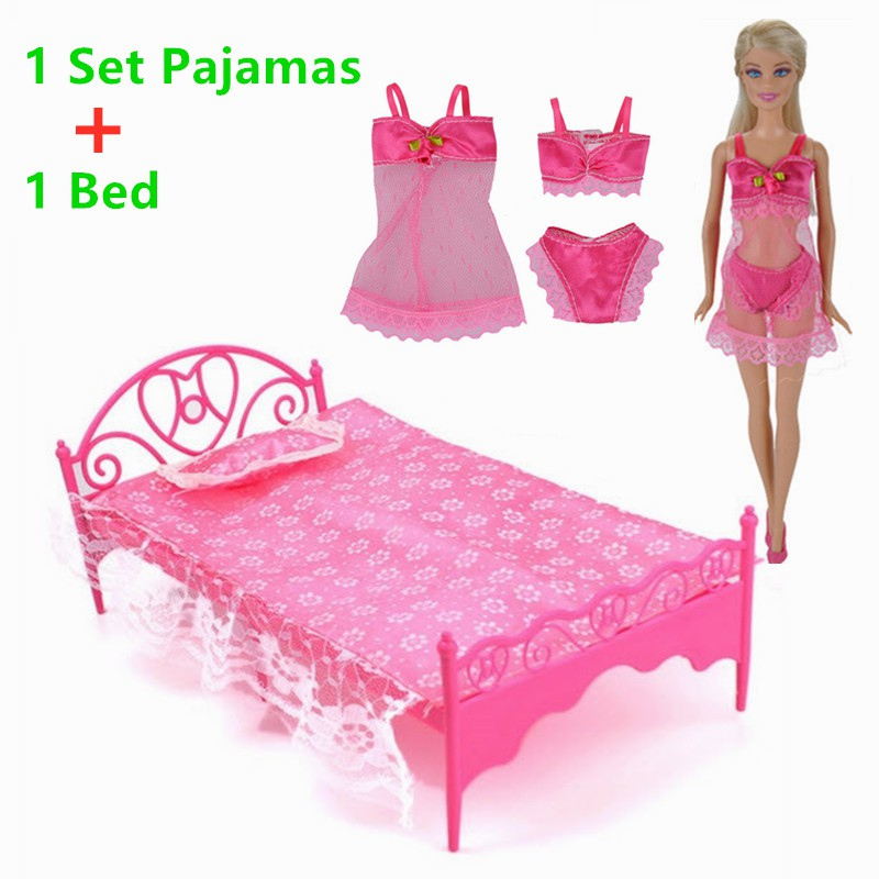 Barbie Doll Bedroom Accessories Pajamas Underwear Set Bed For Girl Play House Shopee Malaysia