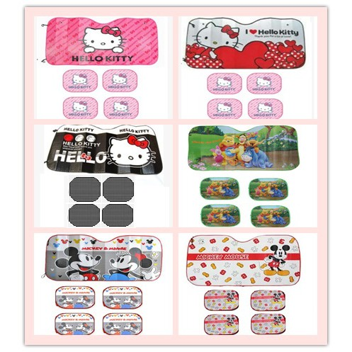Hello Kitty Mickey Pooh Cute Car Side Front Window Sun Shade Block Sunshade Set