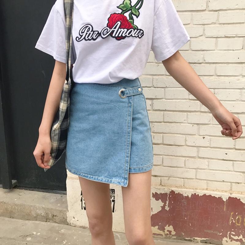 e1700c5a57469 Summer Korean Version of Irregular Solid Color Student Metal Ring Step  Skirt a Word Denim Skirt