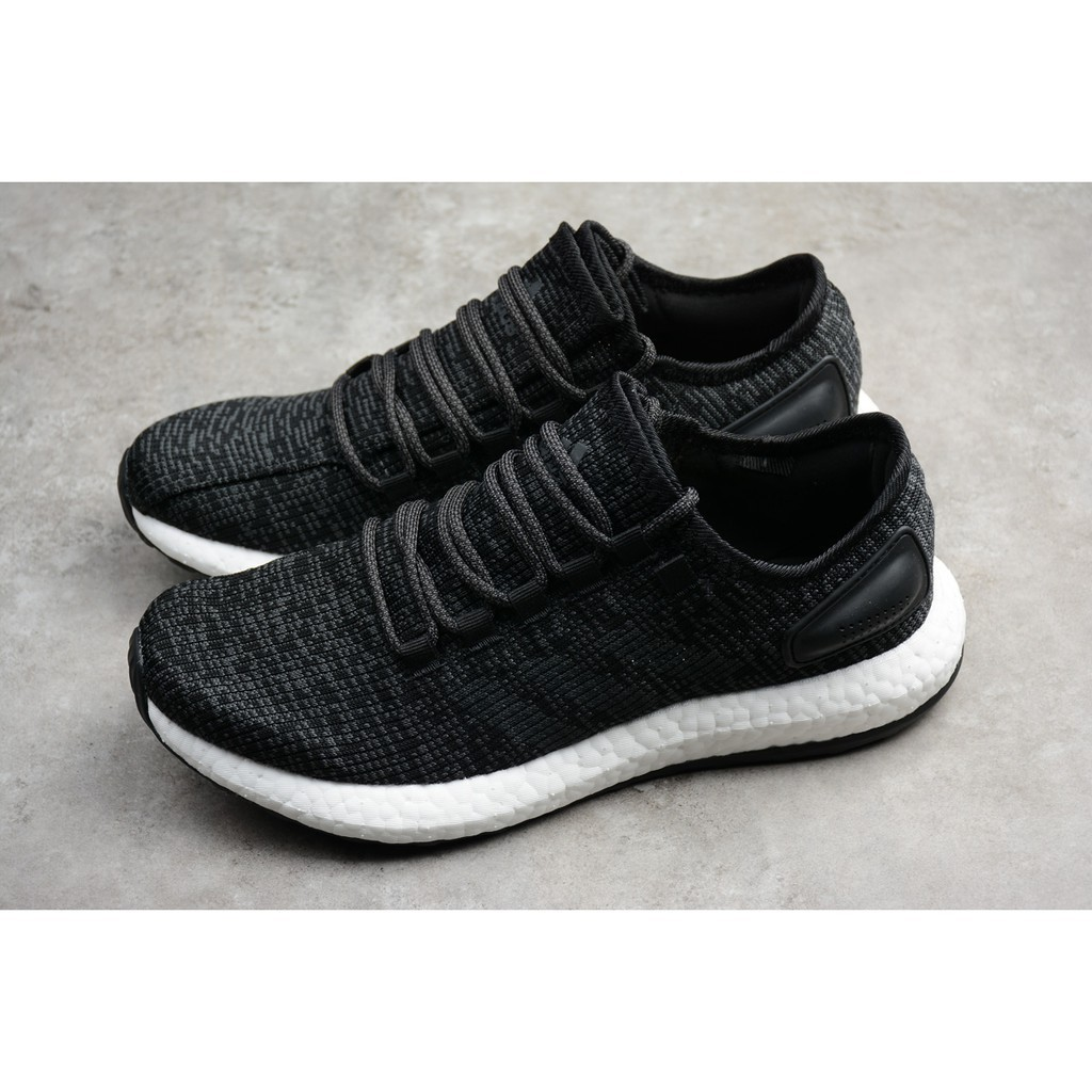 adidas pure boost black white men mesh breathable sport running shoe size 40 44