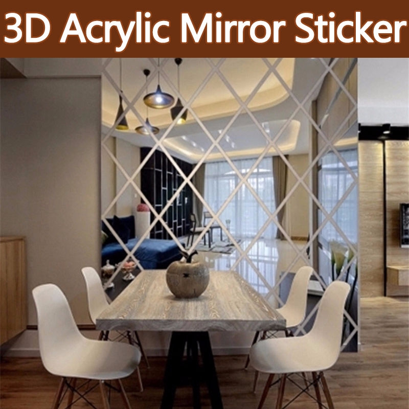 3d Removable Acrylic Mirror Stickers, Mirror Decoration Stickers